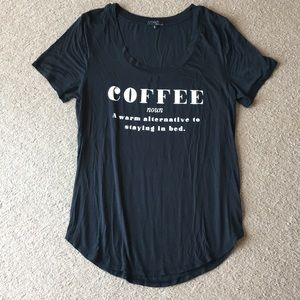 """Coffee"" black T shirt sz S Viscose Spandex blend"